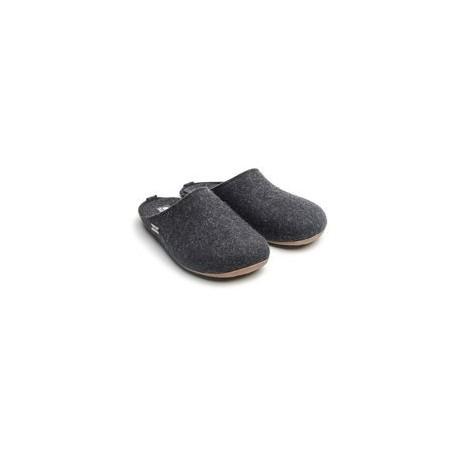 HAFLINGER pantofole unisex FUNDUS GRAPHIT 48102477 feltro lana cotta GRAFITE
