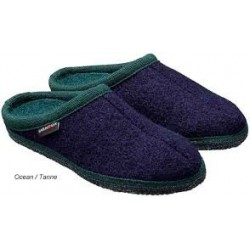 HAFLINGER pantofole unisex ALASKA 611001500 OCEAN/TANNE lana cotta BLU