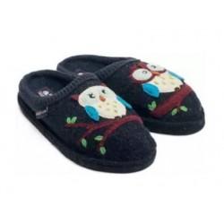 HAFLINGER pantofole OLIVIA KAPITAN 31305279 lana cotta GUFO BLU antiscivolo
