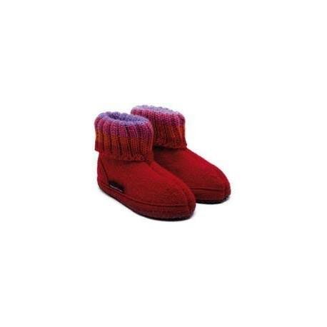 HAFLINGER pantofole bambino unisex PAUL 63105185B ZIEGELROT lana cotta ROSSO