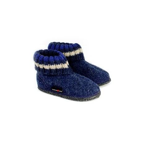 HAFLINGER pantofole kids unisex PAUL 63105172B JEANS lana cotta BLU