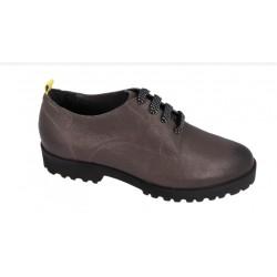 BENVADO scarpa derby con lacci MOLLY plantare estraibile pelle bottolata ANTRACITE