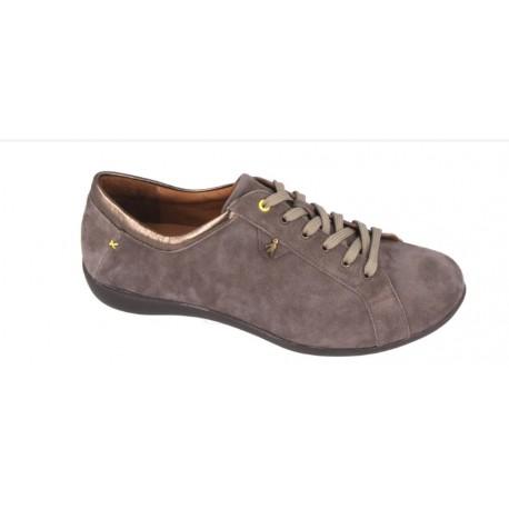 BENVADO scarpa sneaker con lacci TESSA plantare estraibile camoscio TERRA/ORO
