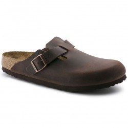 BIRKENSTOCK Ciabatte BOSTON 860133 con fibbia tomaia pelle Oiled Leather HABANA