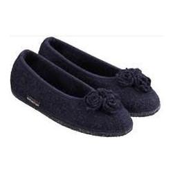 HAFLINGER pantofole ballerina MARINA ROSE 623314 lana cotta fiori kapitan BLU
