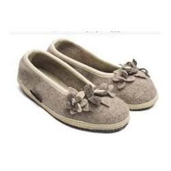 HAFLINGER pantofole ballerina MARINA BLUTEN 623317 lana cotta fiori BEIGE antiscivolo