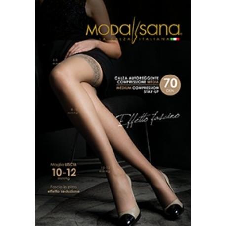 MODASANA SANAGENS calze elastiche 70 DEN AUTOREGGENTE maglia liscia NERO