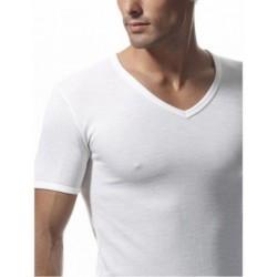 RAGNO Maglietta uomo scollo a V MANICA CORTA lana merino fuori cotone sulla pelle 65458 BIANCO