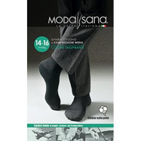 MODASANA calza riposante gambaletto cotone UOMO BLU 14-16 mmHg compressione graduata