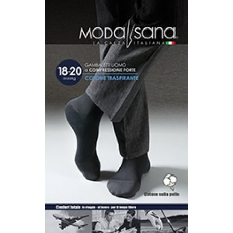 MODASANA calza riposante gambaletto cotone UOMO NERO 18-20 mmHg compressione graduata