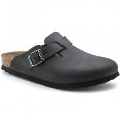 BIRKENSTOCK Ciabatte zoccoli BOSTON 059463 vera pelle Oiled Leather BLACK NERO