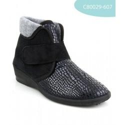 MEDIMA pantofole invernali alte donna FLEX PATTY elasticizzate con velcro NERO