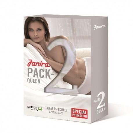JANIRA donna 2 slip NERO mutandina alta cotone pizzo BRAGA ESSENCIAL conf.risparmio PACK-2