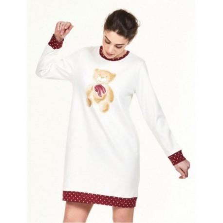 RAGNO Camicia da notte interlock di cotone ORSETTO bordi stampati in rosso BIANCO