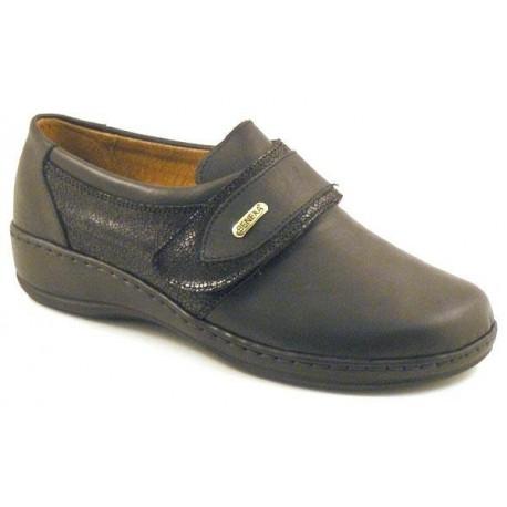 BENEXA morbida scarpa pelle 7118 plantare estraibile 1 strappo NERO GLASS