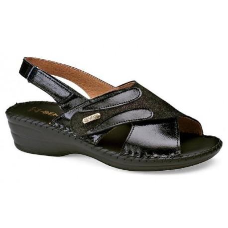 BENEXA sandali pelle 8119 NERO morbido sottopiede plantare imbottito 1 strappo 1 cinturino
