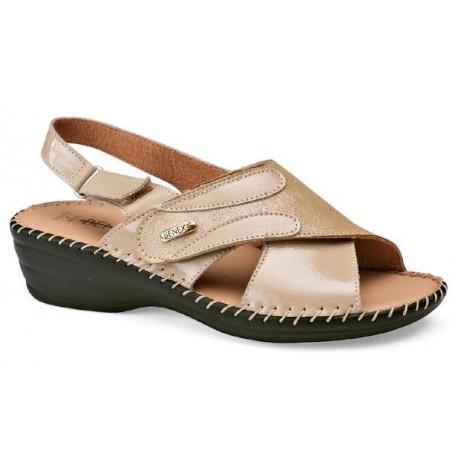 BENEXA sandali pelle 8119 BEIGE morbido sottopiede plantare imbottito 1 strappo 1 cinturino