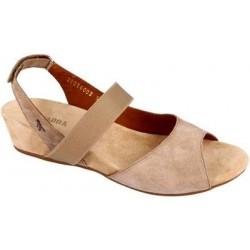 BENVADO sandali camoscio NATASHA SABBIA zeppa 3cm decollete elastico plantare pelle