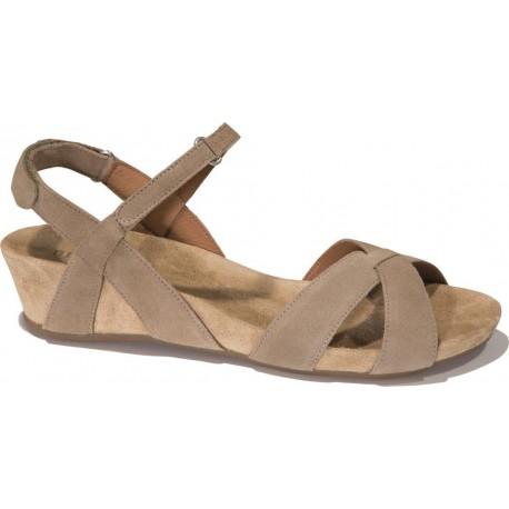 BENVADO sandalo camoscio VIOLA SABBIA regolabile plantare morbido pelle capra