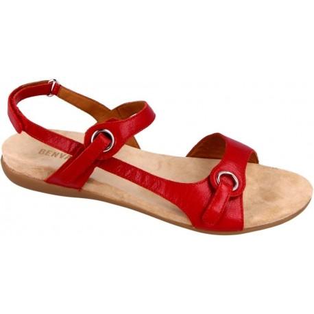 BENVADO sandalo pelle capra lux CHER tomato ROSSO con velcrI plantare morbido basso