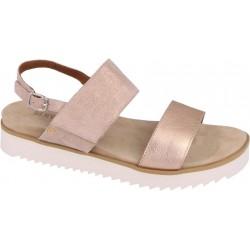 BENVADO sandalo pelle capra lam. LILLY CIPRIA regolabile a strappo plantare 2 fasce