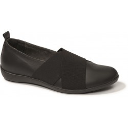 BENVADO scarpa pantofola slip on elastico VALERIA plantare estraibile pelle NERO