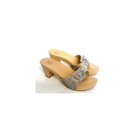 SCHOLL zoccolo aperto legno PESCURA LADY PRINT TACCO fibbia regolabile BRONZO