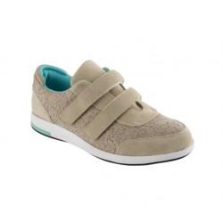 SCHOLL scarpe 2 velcri sportive YORIA STRAP tessuto pizzo BEIGE plantare Memory