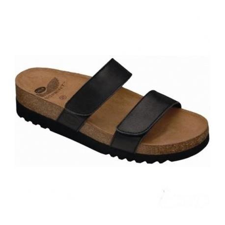 SCHOLL ciabatte sandali pelle 2 fasce con strappi LUSAKA NERO plantare BioPrint sughero