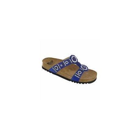 SCHOLL ciabatte sandali BOGOTA'  plantare BioPrint BLU perline pietre colorate