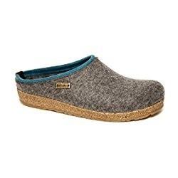 HAFLINGER pantofole KRIS ANTHRAZIT 711056 feltro di lana cotta fondo sughero gomma GRIGIO