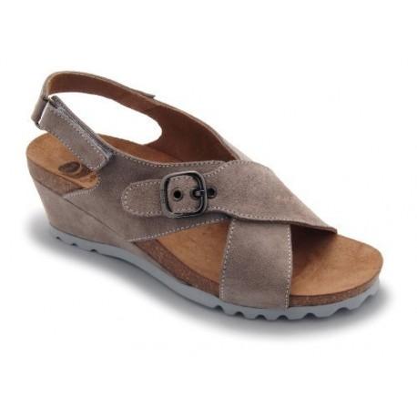 SCHOLL sandali con zeppa 6 REEL BS incrocio scamosciato TAUPE plantare BioPrint