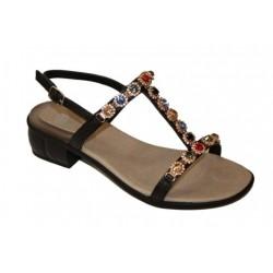 SCHOLL sandali donna FLORALIE pietre colorate NERO tacco 4cm plantare Gelactiv