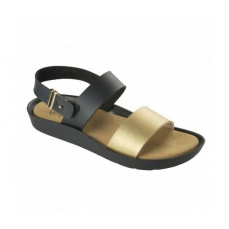 SCHOLL sandali donna 2 fasce con fibbia MAMORE NERO/ORO plantare Memory Cuschion