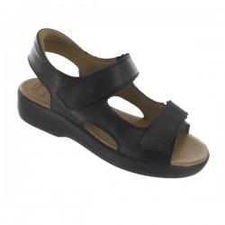 SCHOLL sandali donna NEW LISBON pelle NERO calzata ampia strappi plantare Memory